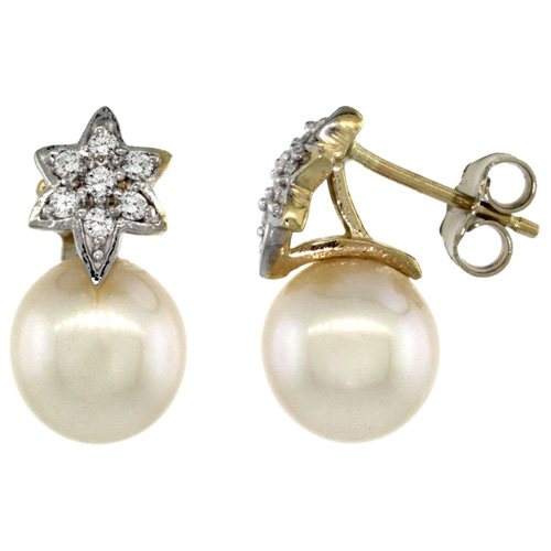 14k Gold Flower Pearl Earrings w/ 0.14 Carat Brilliant Cut ( H-I Color; VS2-SI1 Clarity ) Diamonds & 8mm White Pearls