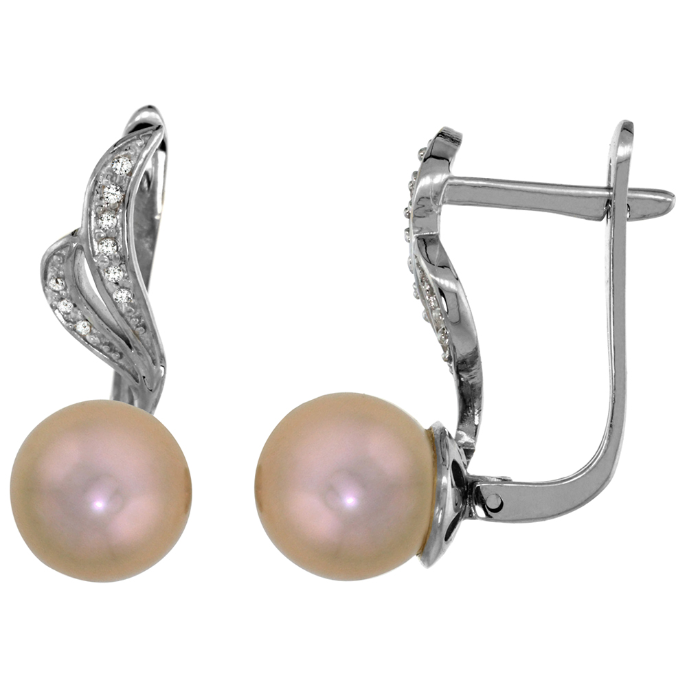 14k White Gold 0.12 ct Diamond 8mm Brown Pearl Lever Back Earrings Ribbon 7/8 inch long