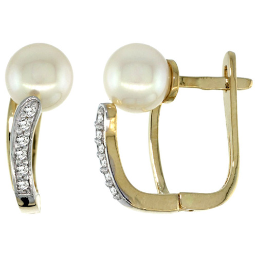 14k Gold Pearl Earrings w/ 0.13 Carat Brilliant Cut ( H-I Color; VS2-SI1 Clarity ) Diamonds & 7mm White Pearls