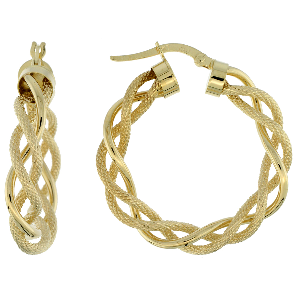 10K Yellow Gold Hoop Earrings Twisted Rope Tubing Two tone Textured Finish Italy 1 1/8 inch