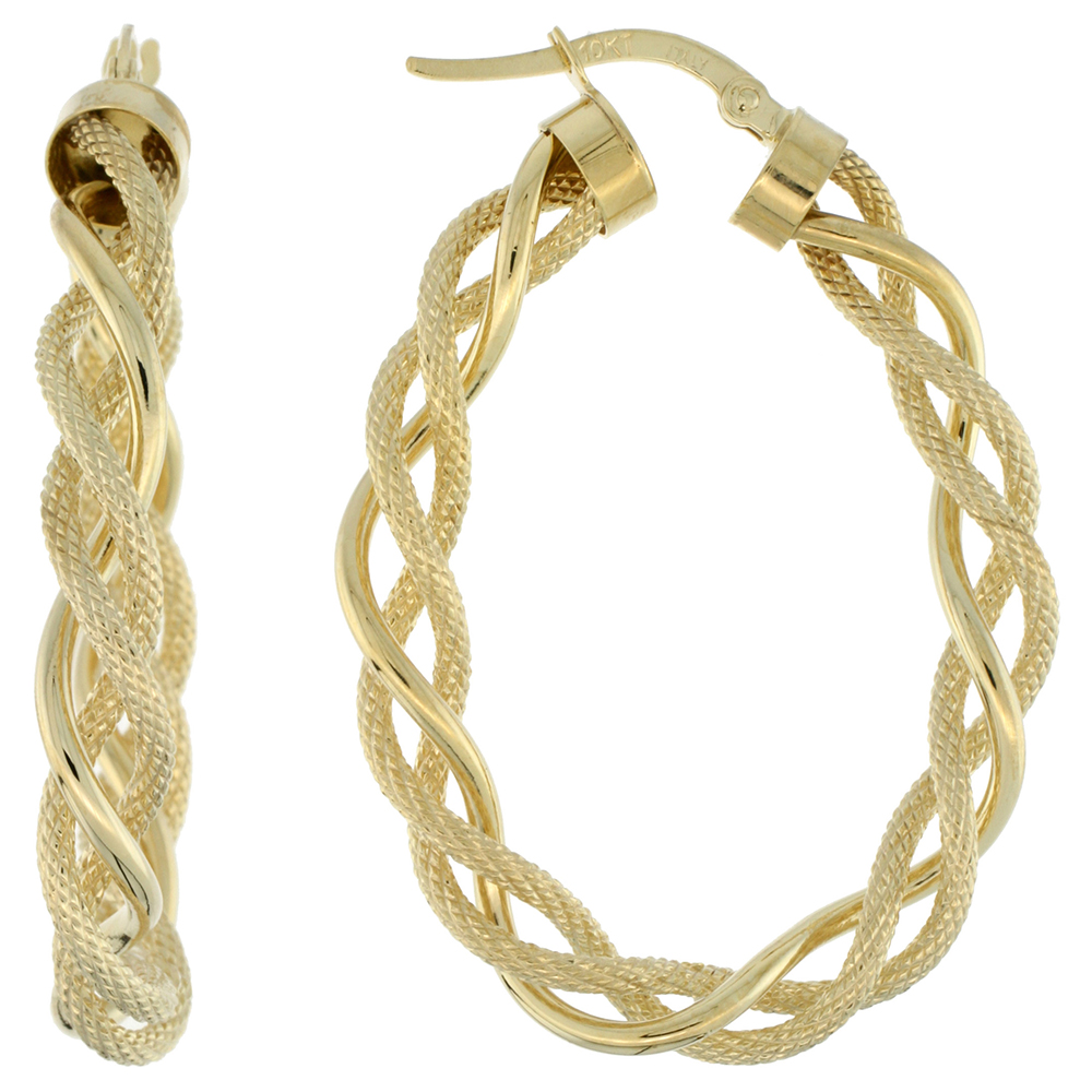 10K Yellow Gold Oval Hoop Earrings Twisted Rope Tubing Two tone Textured Finish Italy 1 1/2 inch