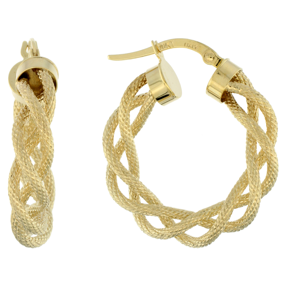 10K Yellow Gold Hoop Earrings Twisted Rope Tubing Textured Finish Italy 1 inch