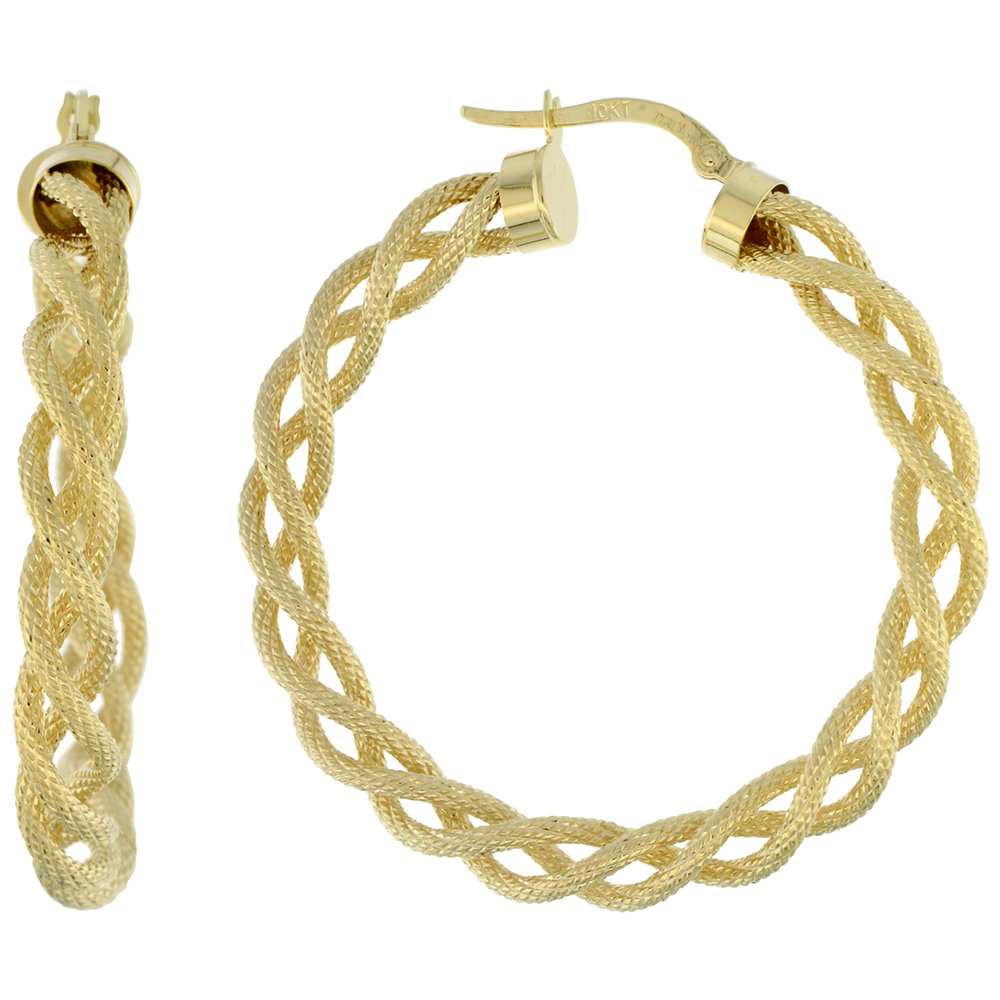 10K Yellow Gold Hoop Earrings Twisted Rope Tubing Textured Finish Italy 1 1/2 inch