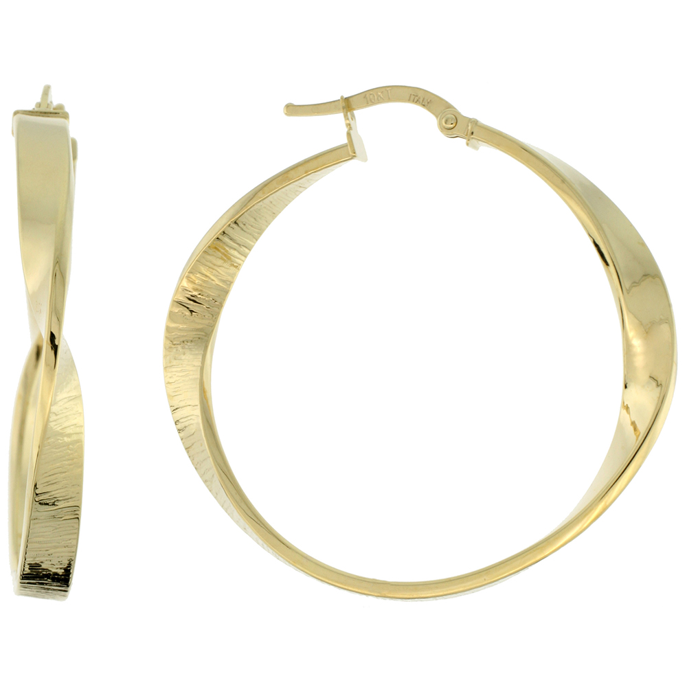 10K Yellow Gold Hoop Earrings Twisted Flat Tubing Textured Finish Italy 1 1/2 inch