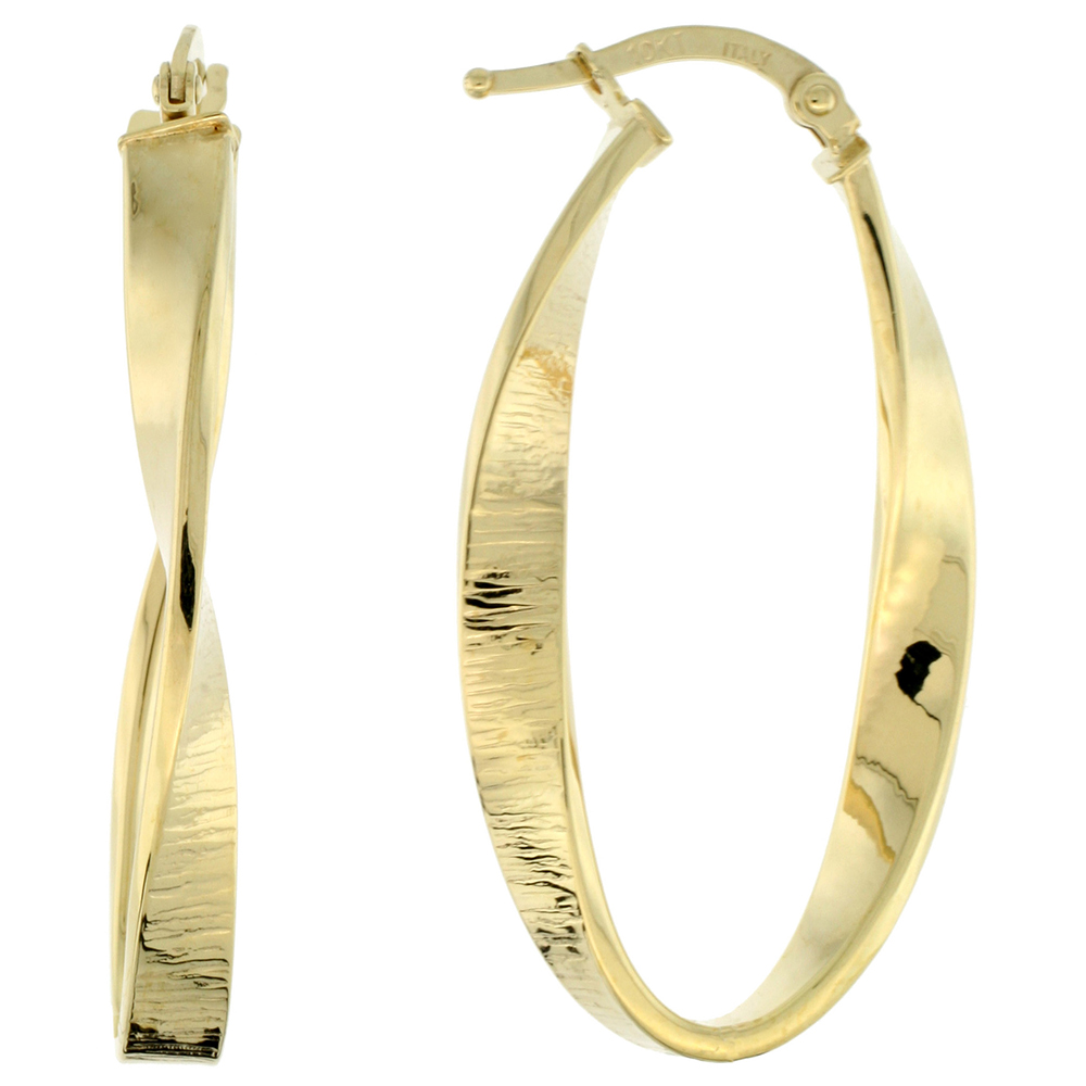 10K Yellow Gold Oval Hoop Earrings Twisted Flat Tubing Textured Finish Italy 1 3/8 inch