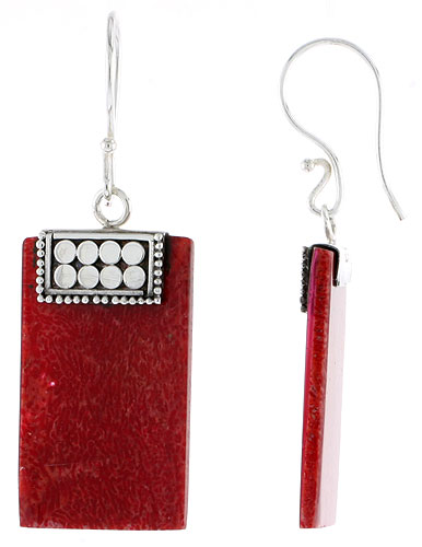 Sterling Silver Natural Coral Rectangular Shape Dangle Earrings 1 1/16 inches long