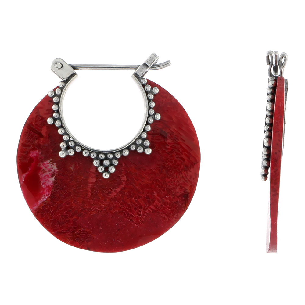 Sterling Silver Natural Coral Round Shape Dangle Earrings 1 inch long