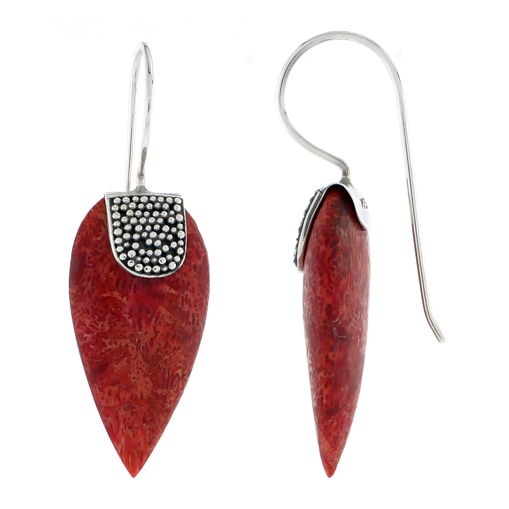 Sterling Silver Natural Coral Pear Shape Earrings 1 inch long