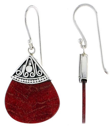 Sterling Silver Natural Coral Fan Shape Dangle Earrings 1 inch long