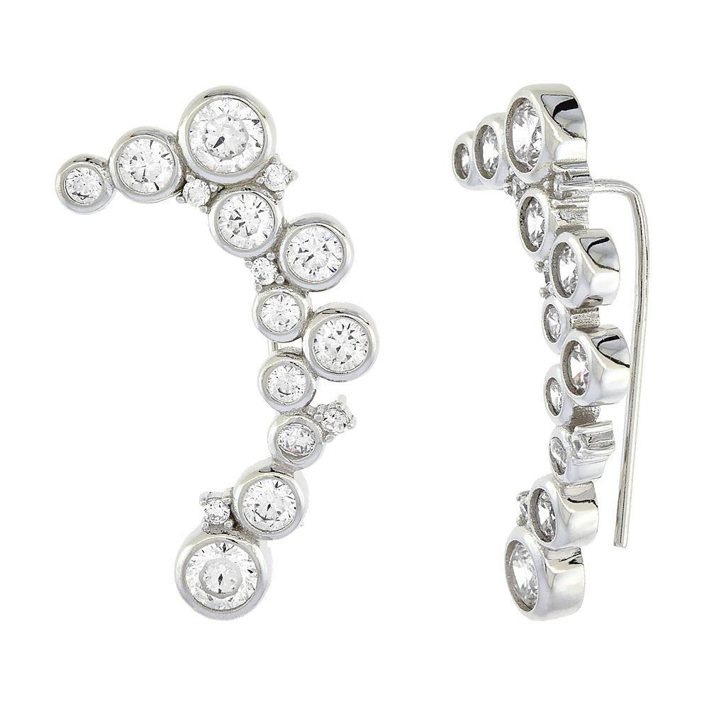 Sterling Silver Cubic Zirconia Raindrop Ear Climber Earrings, 1 3/16 inch long