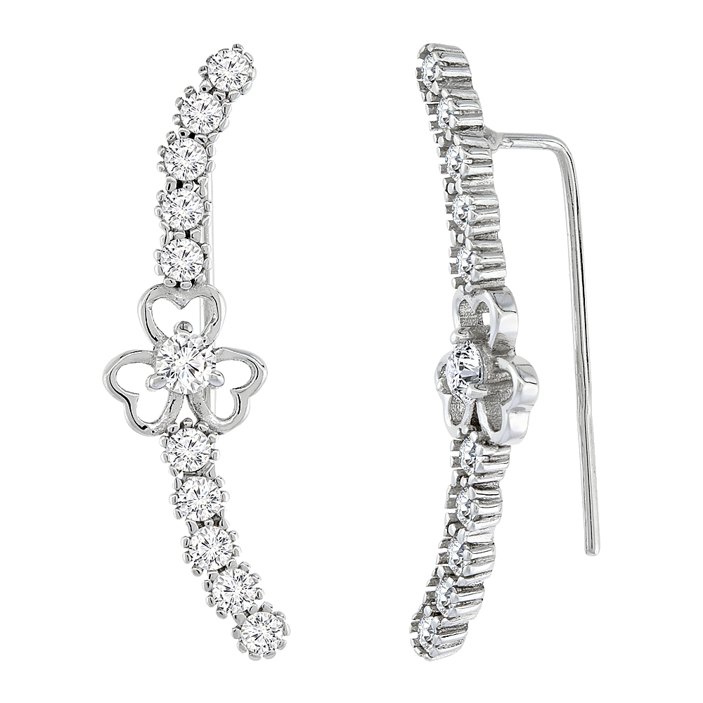 Sterling Silver Cubic Zirconia Clover Heart Ear Climber Earrings, 1 3/16 inch long