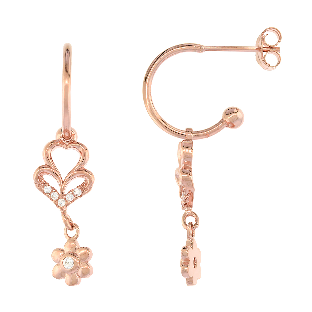 Sterling Silver Cubic Zirconia Heart & Flower Dangle Earrings Rose Gold Finish, 13/16 inch long