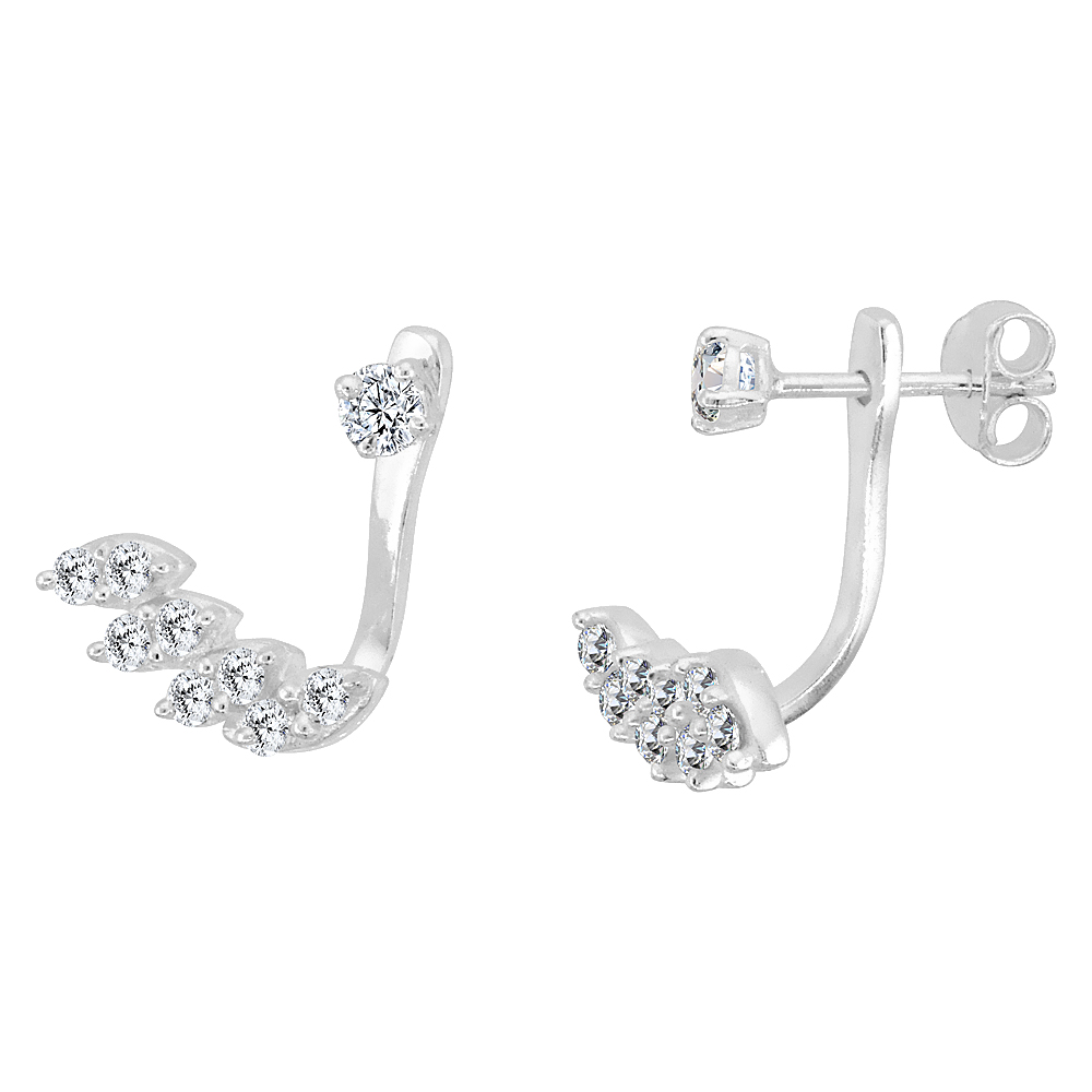 Sterling Silver Cubic Zirconia Detachable 2 pc. Stud & Ear Jacket Set