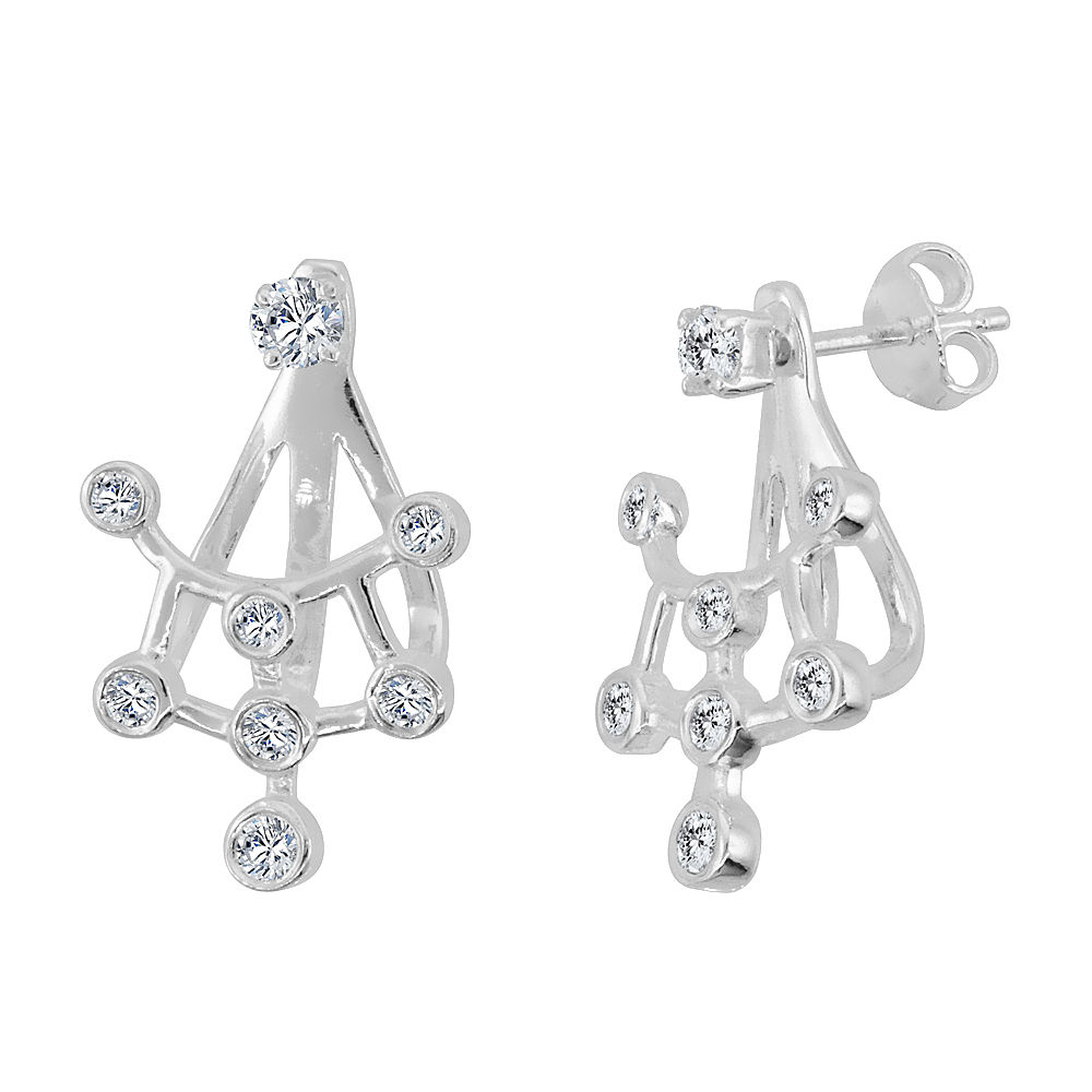 Sterling Silver Cubic Zirconia Detachable 2 pc. Trellis & Ear Jacket Set