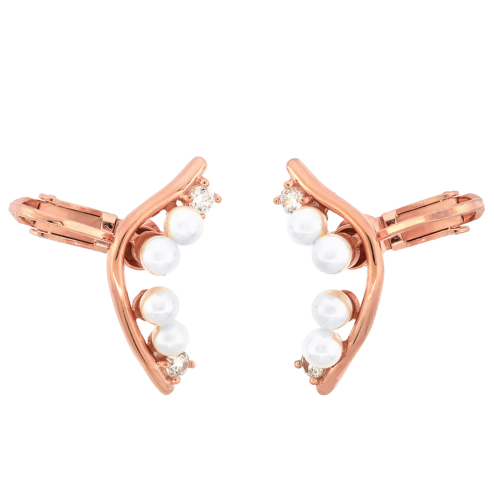 Sterling Silver Faux Pearl & Cubic Zirconia Ear Jacket Clip On Earrings Rose Gold Finish