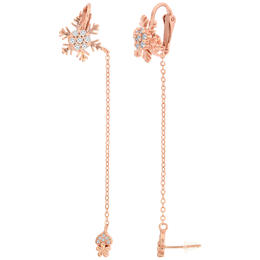Sterling Silver CZ Heart Stud & Snowflake Clip On Earrings & Cable Chain, Rose Gold Finish