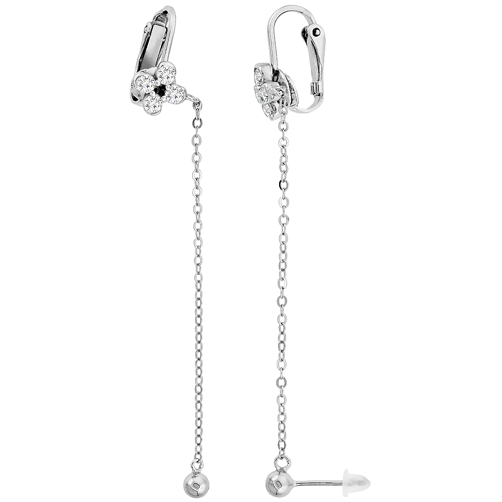 Sterling Silver Cubic Zirconia Ball Stud & Flower Clip On Earrings & Cable Chain