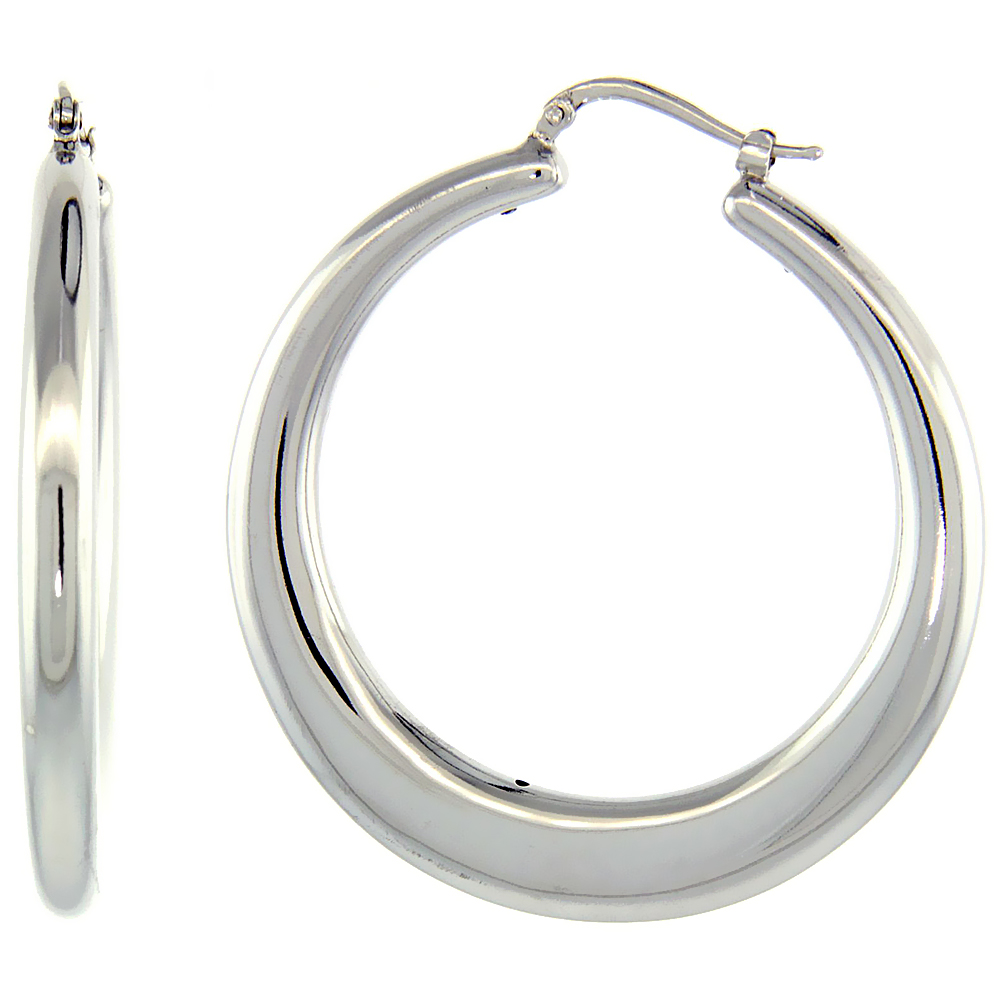 Sterling Silver Italian Large Puffy Hoop Earrings Round Shape W White Gold Finish 1