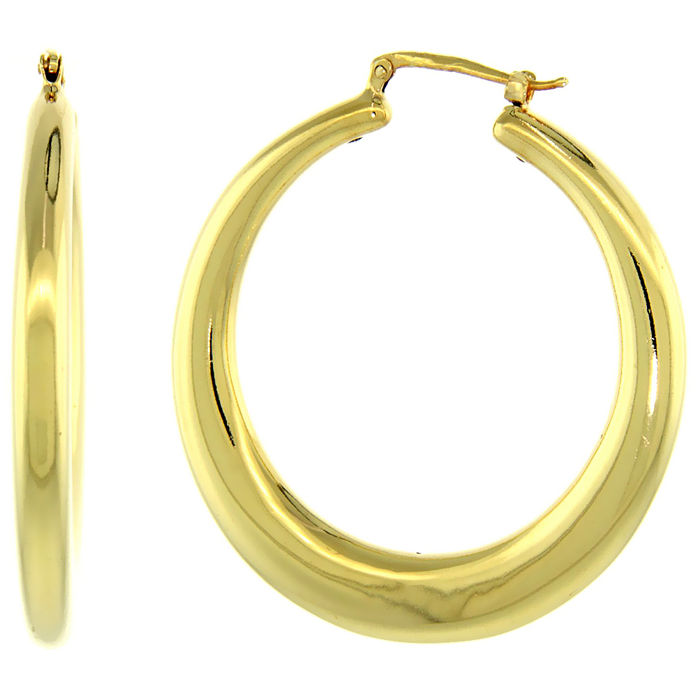 Sterling Silver Italian Large Puffy Hoop Earrings Round Shape W Yellow Gold Finish 1