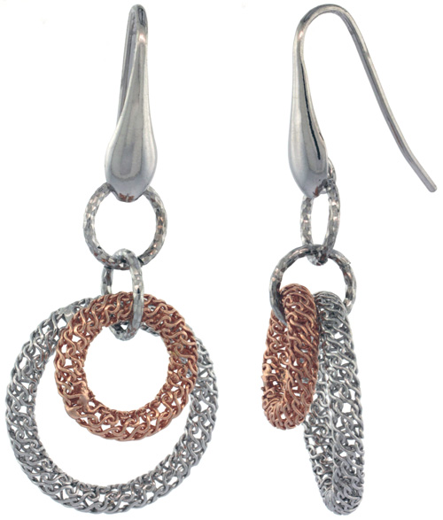 Sterling Silver Italian Filigree Wire Mandala Earrings Diamond Cut Rose Gold Finish, 2 inches long