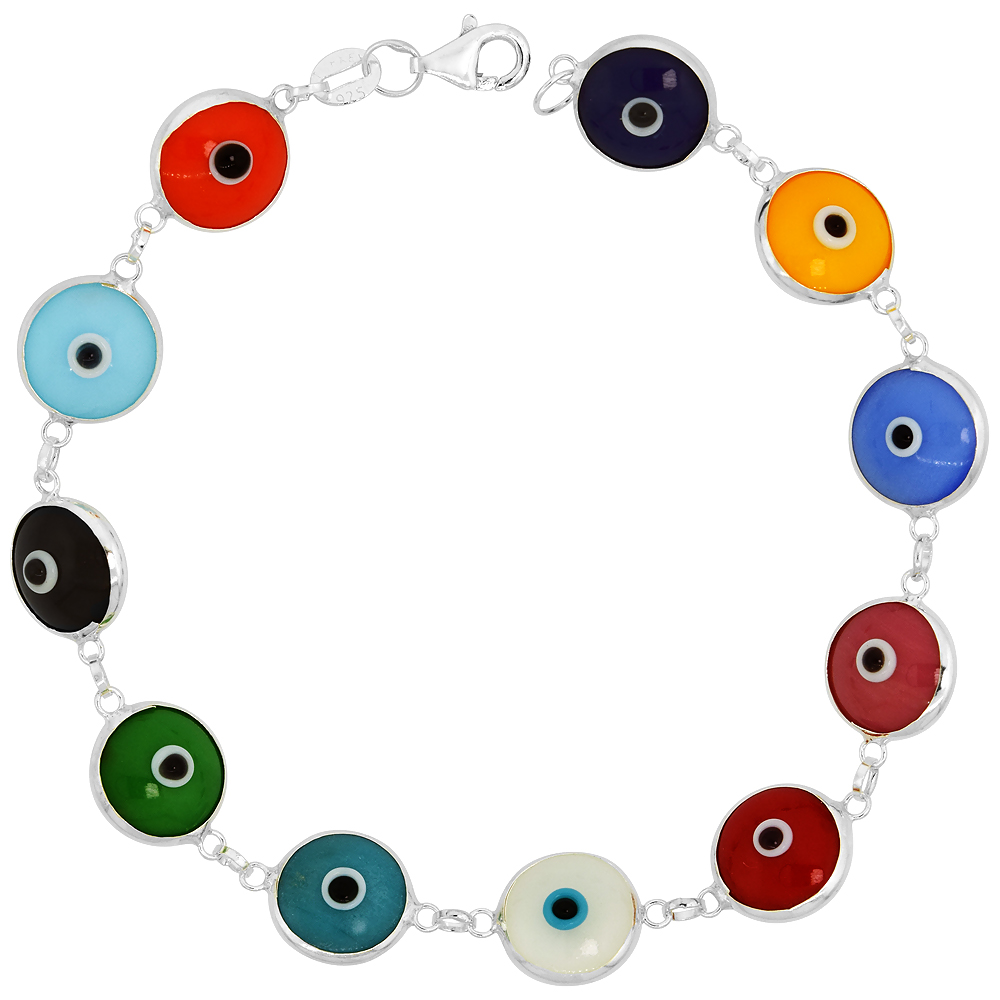 14k gold and Sterling Silver Evil Eye Bracelet 10 mm  Glass Eyes Available in All Colors, 7 inch