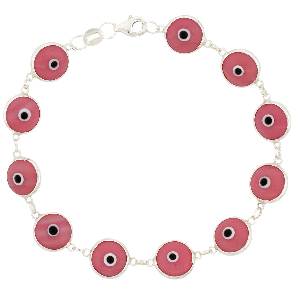 Sterling Silver Evil Eye Bracelet Pink Color, 7 inch