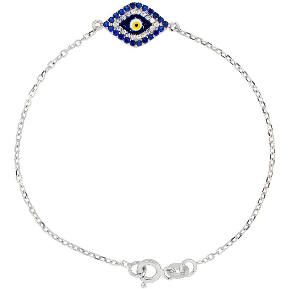 Sterling Silver Cubic Zirconia Evil Eye Charm Bracelet 6.75 inch