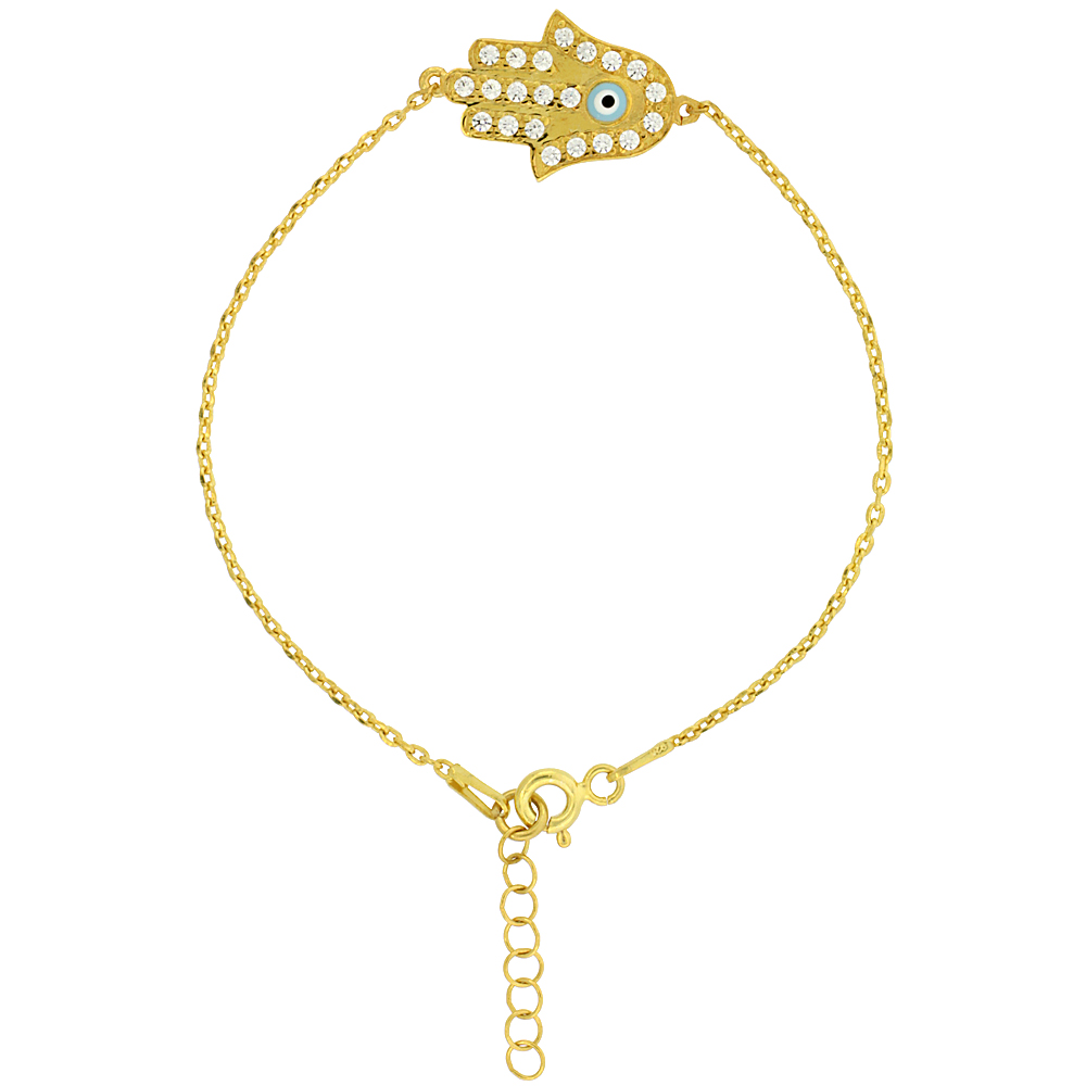 Sterling Silver Cubic Zirconia Hamsa Charm Bracelet Gold Plated 6.75 inch