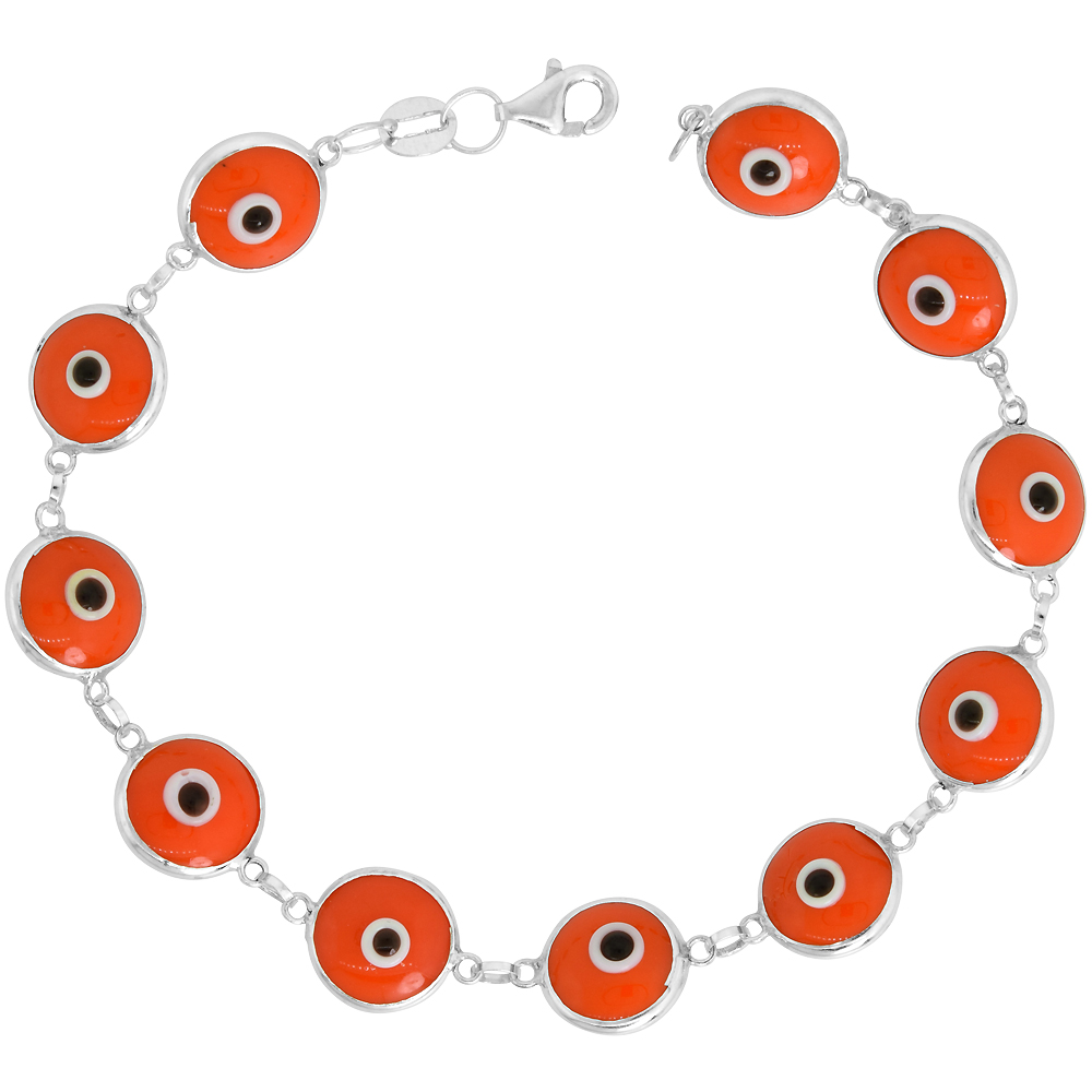 Sterling Silver Evil Eye Bracelet Orange Color, 7 inch