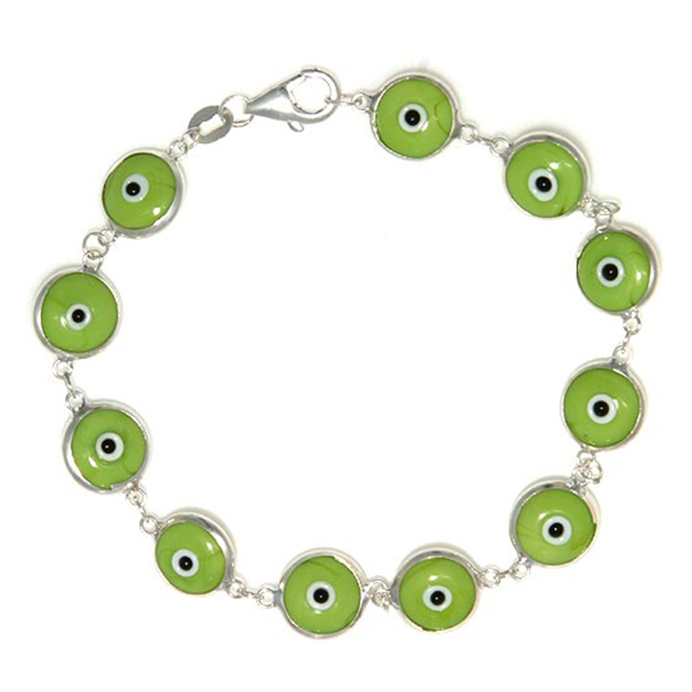 Sterling Silver Evil Eye Bracelet Pistachio Green Color, 7 inch