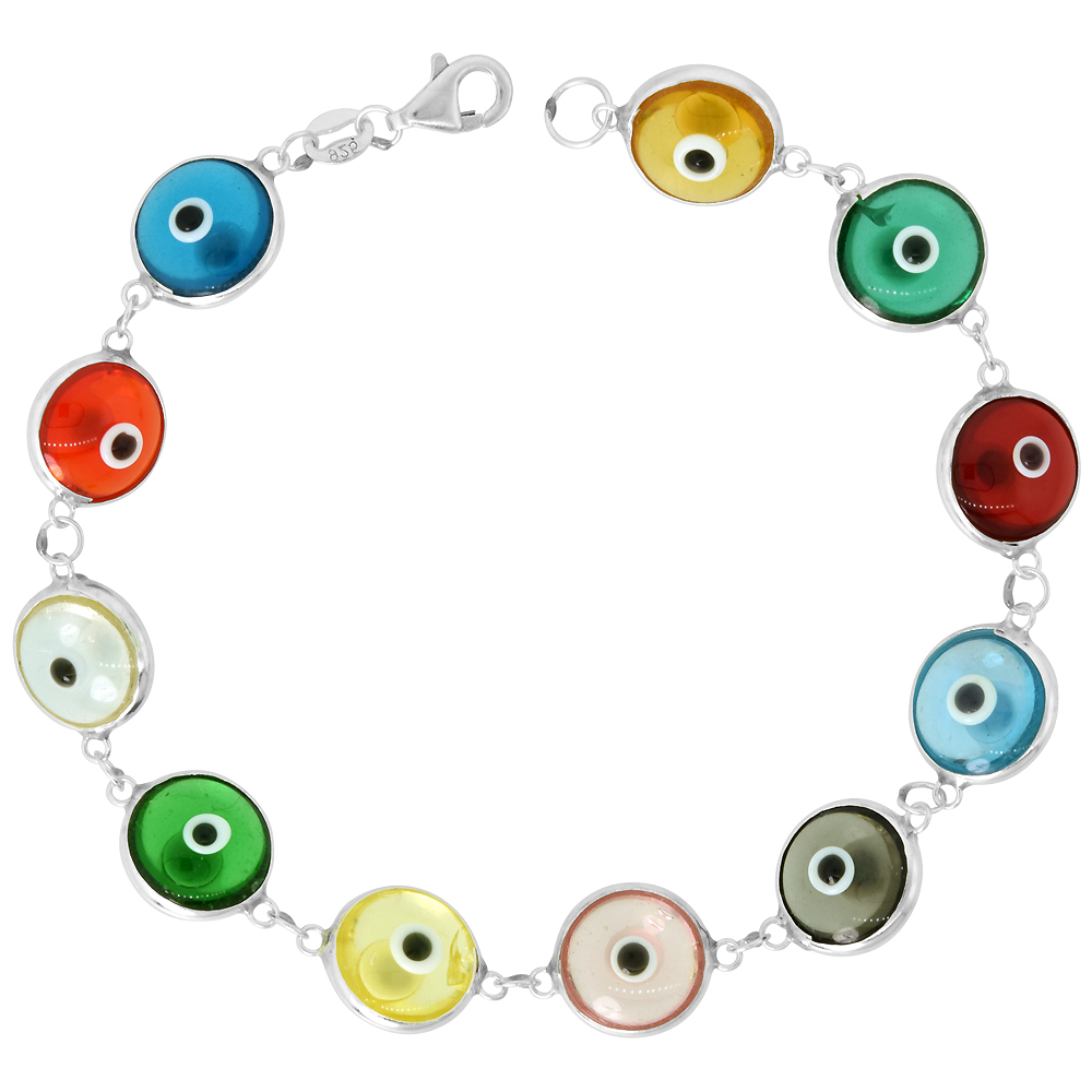 Sterling Silver Evil Eye Bracelet Clear Multi Color Clear, 7 inch