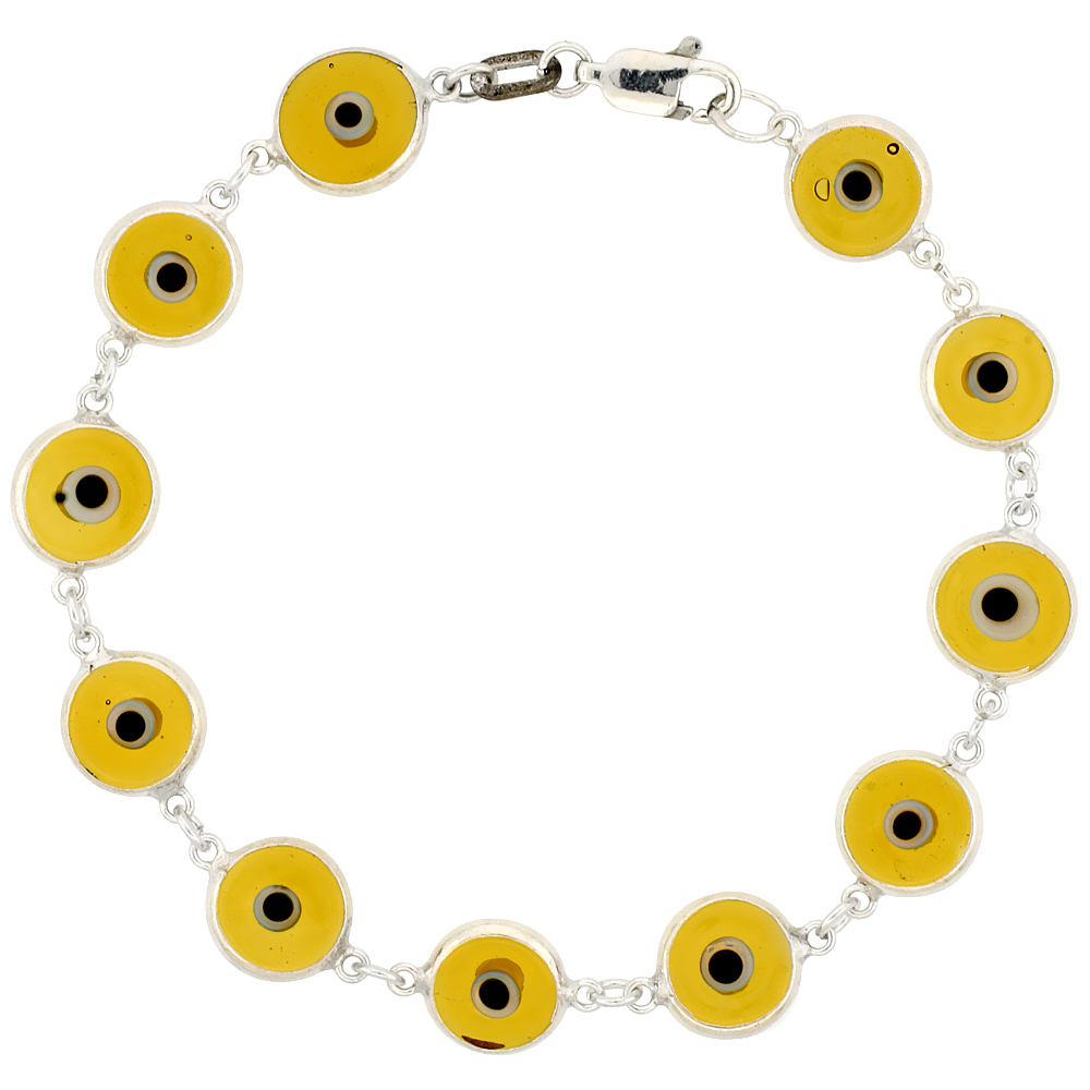 Sterling Silver Evil Eye Bracelet Clear Lemon Yellow Color, 7 inch