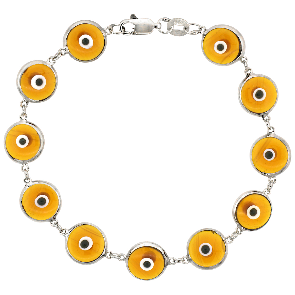 Sterling Silver Evil Eye Bracelet Clear Amber Color, 7 inch