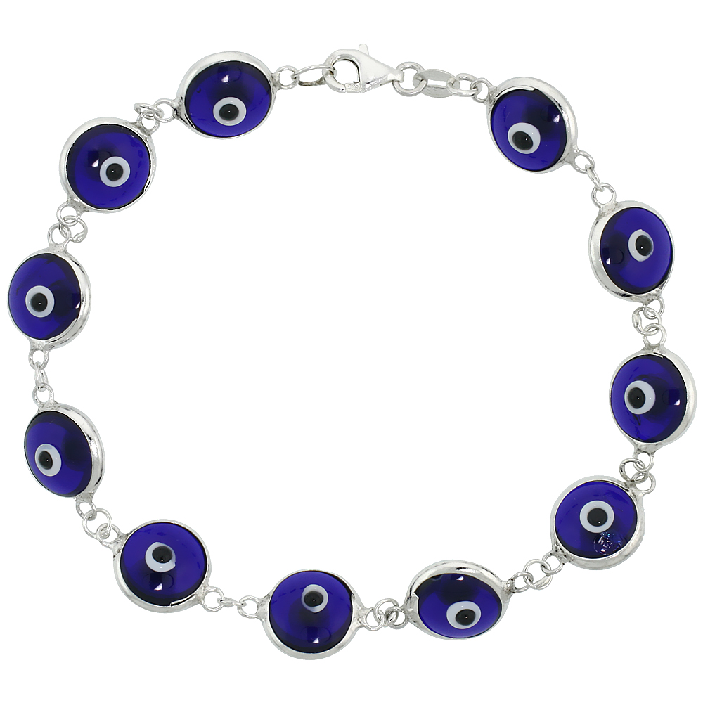 Sterling Silver Evil Eye Bracelet Navy Blue Color, 7 inch