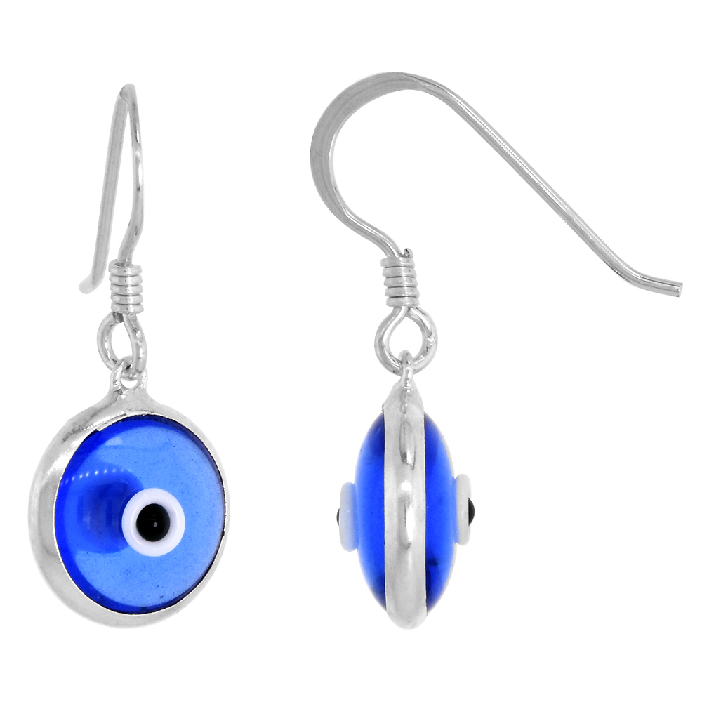 Sterling Silver Tanzanite Blue Color Evil Eye Earrings for Women and Girls 10mm Glass Eyes with Fish Hook