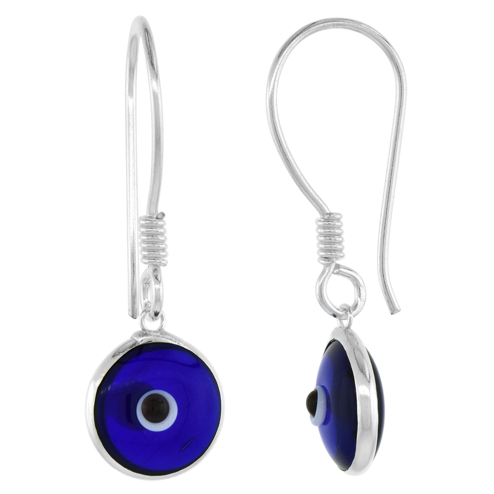 Sterling Silver Navy Blue Color Evil Eye Earrings for Women and Girls 10mm Glass Eyes with Fish Hook