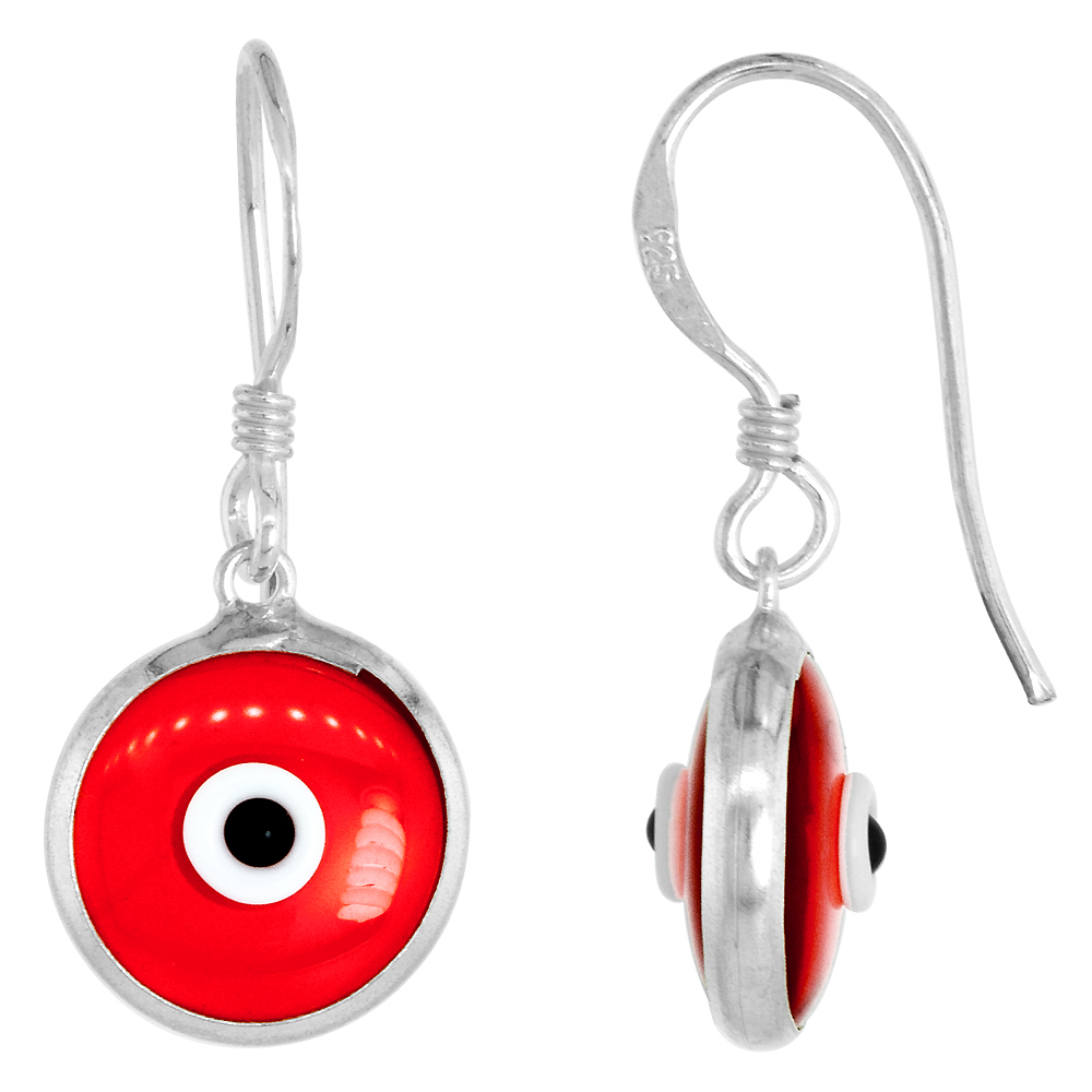 Sterling Silver Clear Ruby Red Color Evil Eye Earrings for Women and Girls 10mm Glass Eyes with Fish Hook
