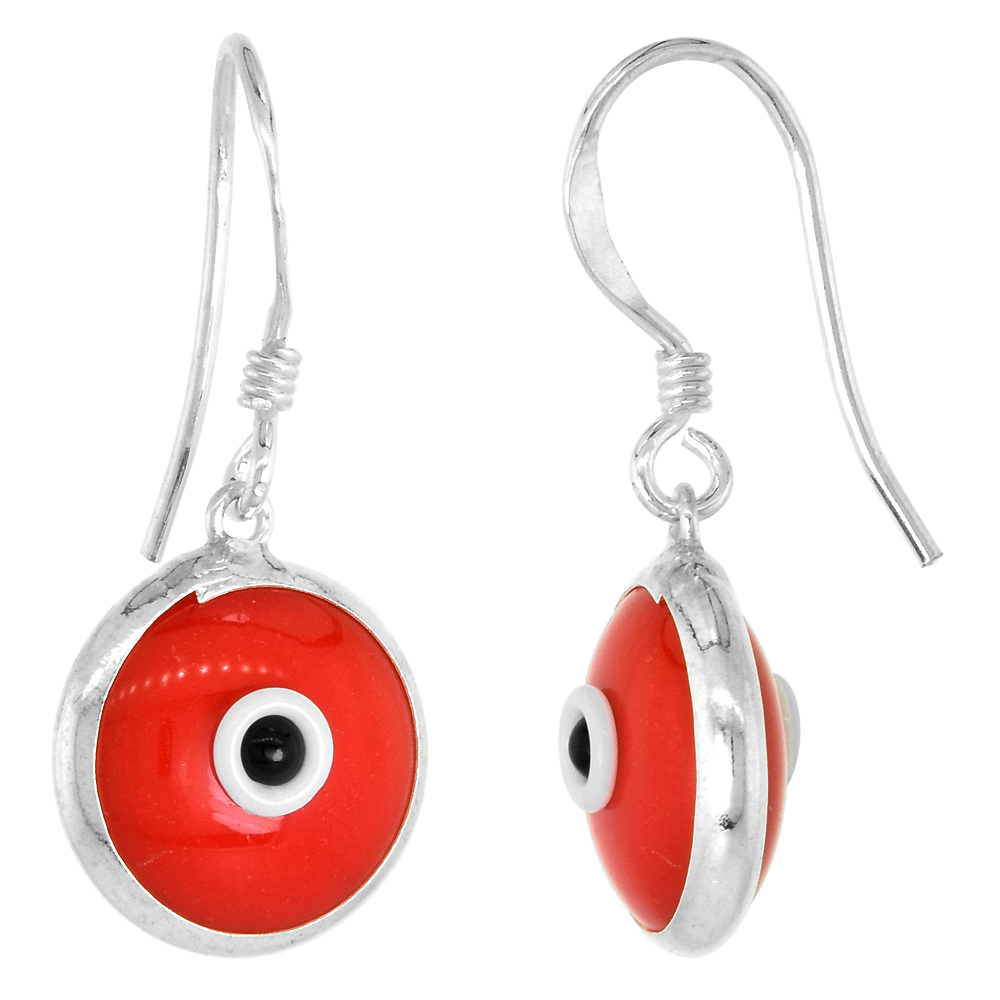 Sterling Silver Red Color Evil Eye Earrings for Women and Girls 10mm Glass Eyes with Fish Hook