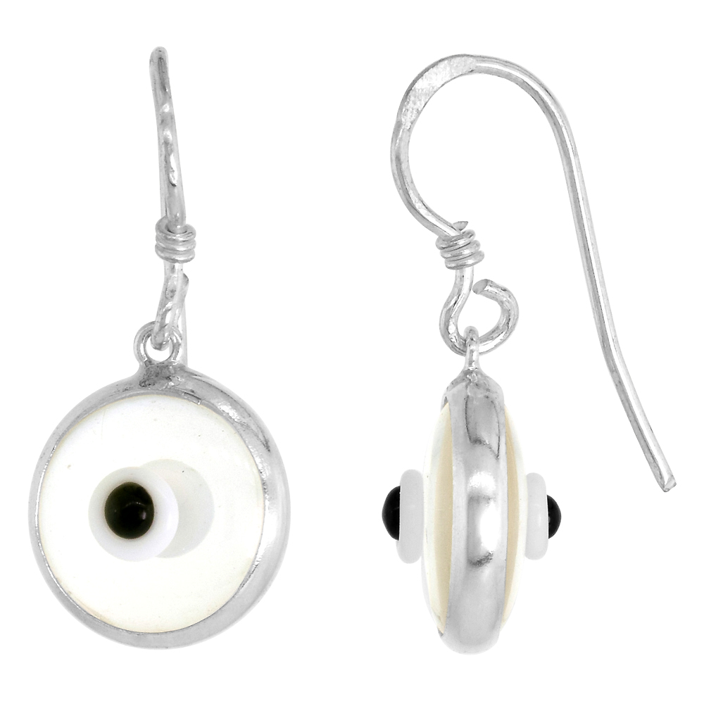 Sterling Silver Evil Eye Earrings Clear Colorless