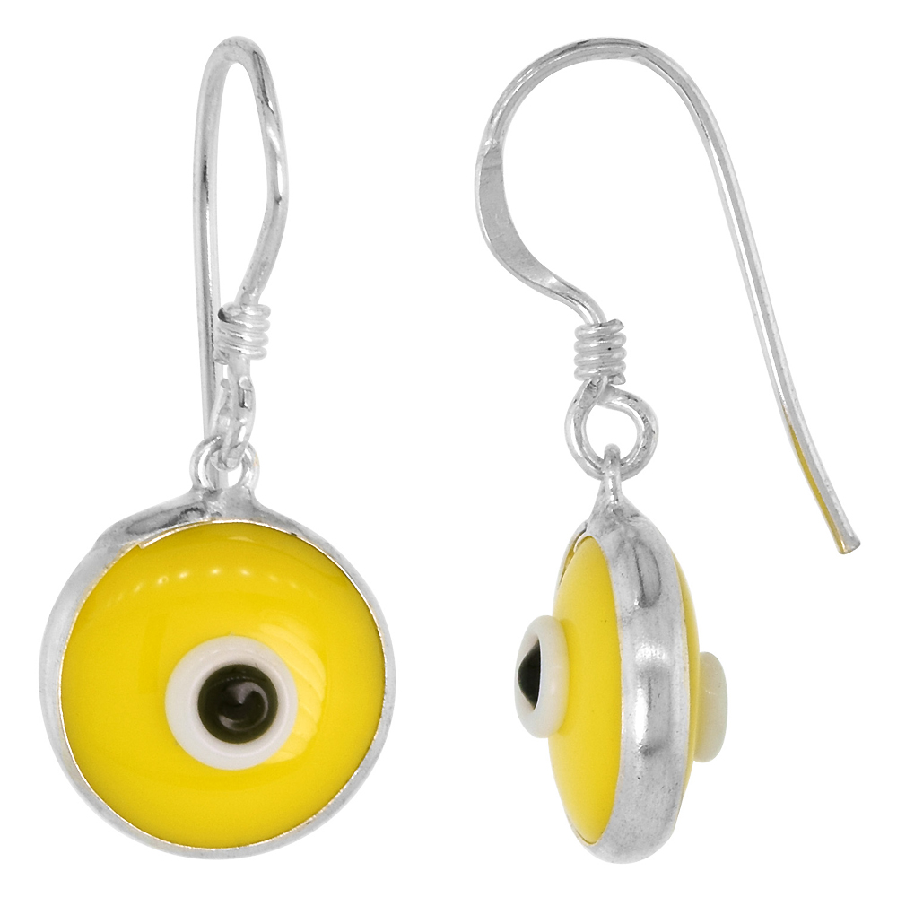 Sterling Silver Yellow Color Evil Eye Earrings for Women and Girls 10mm Glass Eyes with Fish Hook