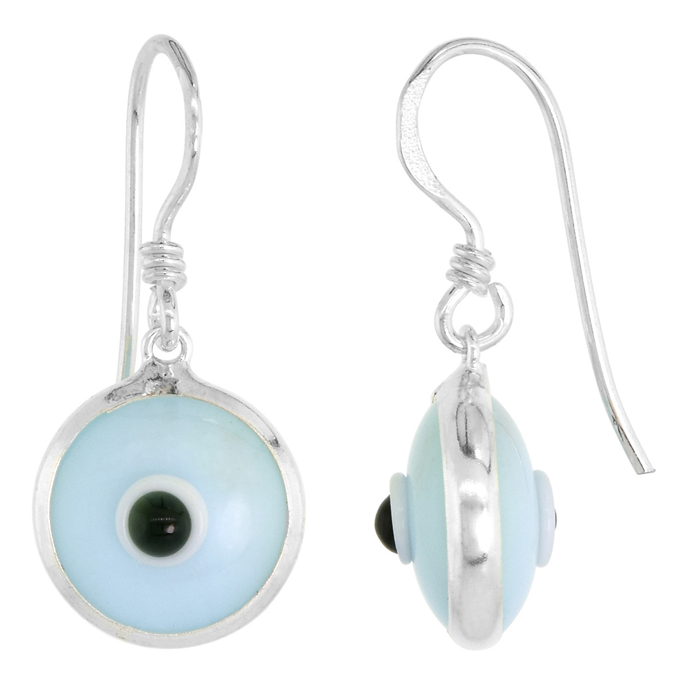 Sterling Silver Sky Blue Color Evil Eye Earrings for Women and Girls 10mm Glass Eyes with Fish Hook
