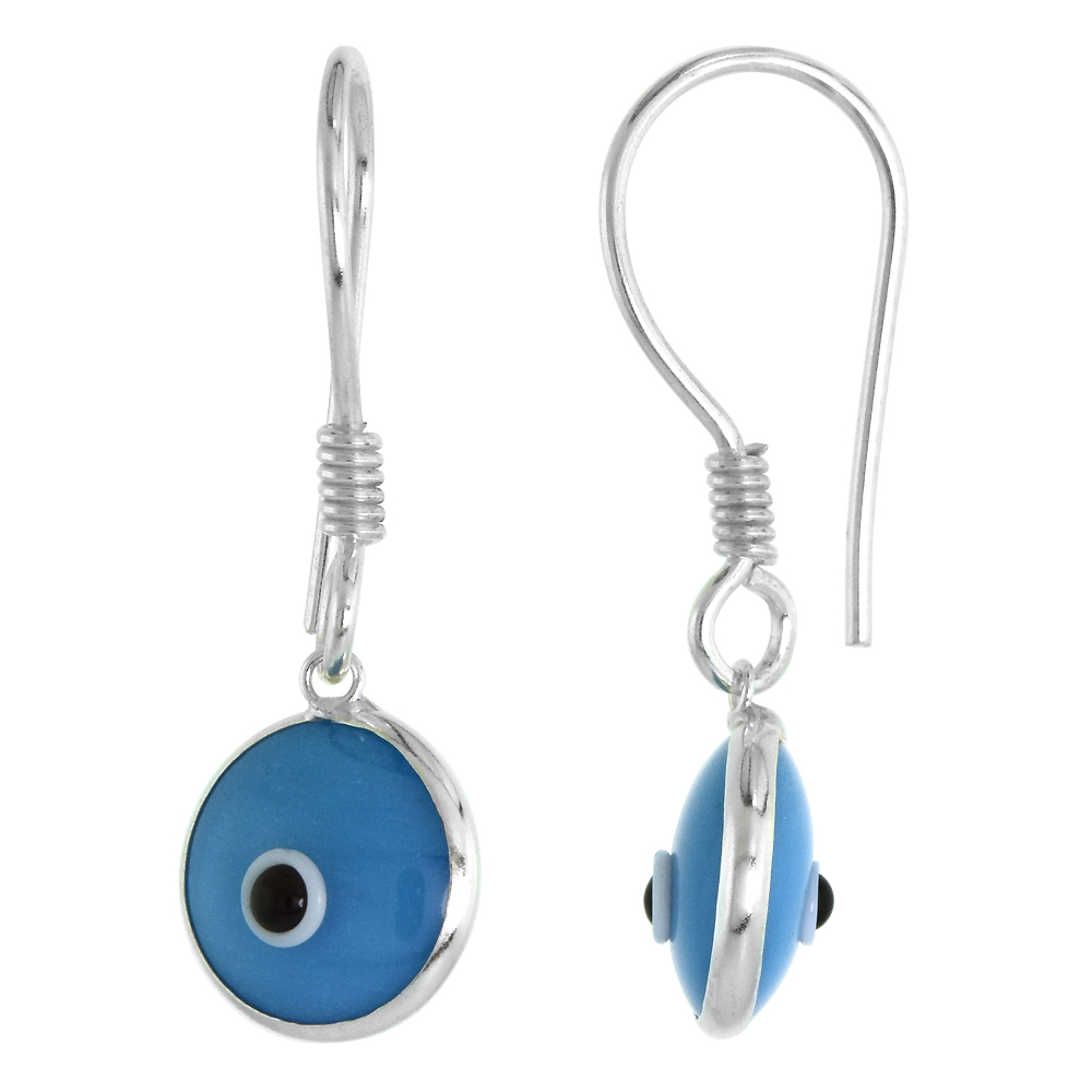 Sterling Silver Evil Eye Earrings Turquoise Color