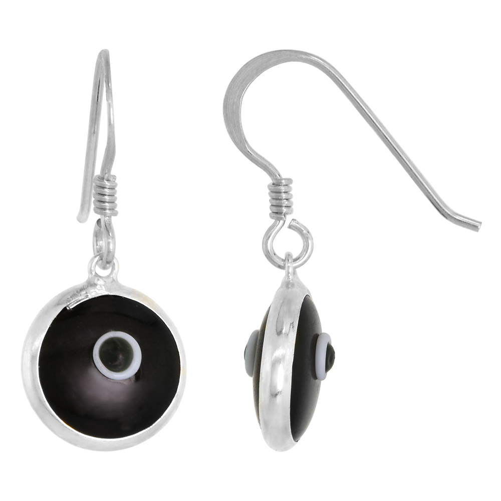 Sterling Silver Black Color Evil Eye Earrings for Women and Girls 10mm Glass Eyes with Fish Hook
