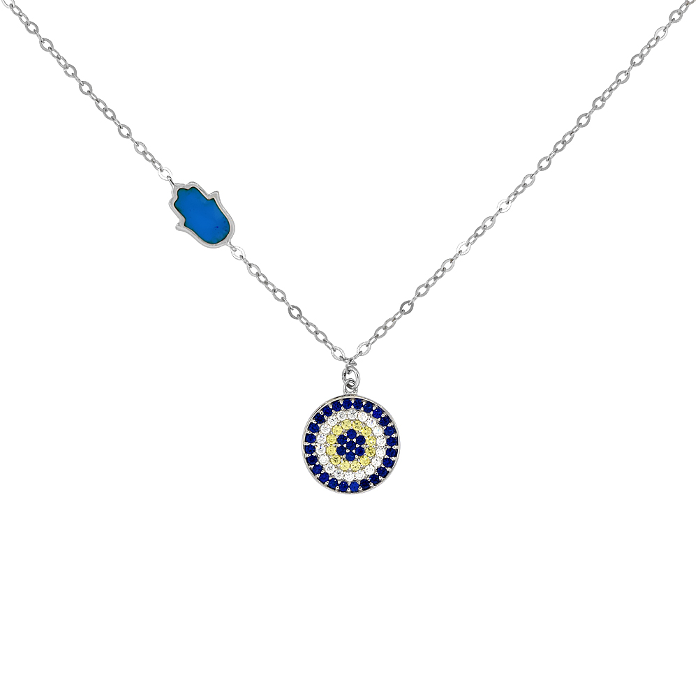 Sterling Silver Cubic Zirconia Evil Eye Necklace Hamsa Accent, 18 inches long + 1 in extension