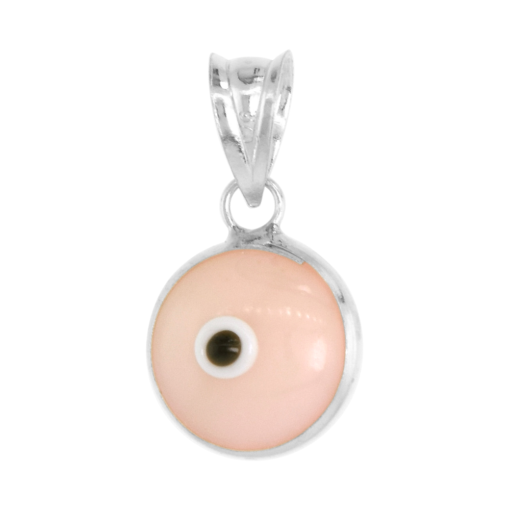 Sterling Silver Evil Eye Pendant Pink Color