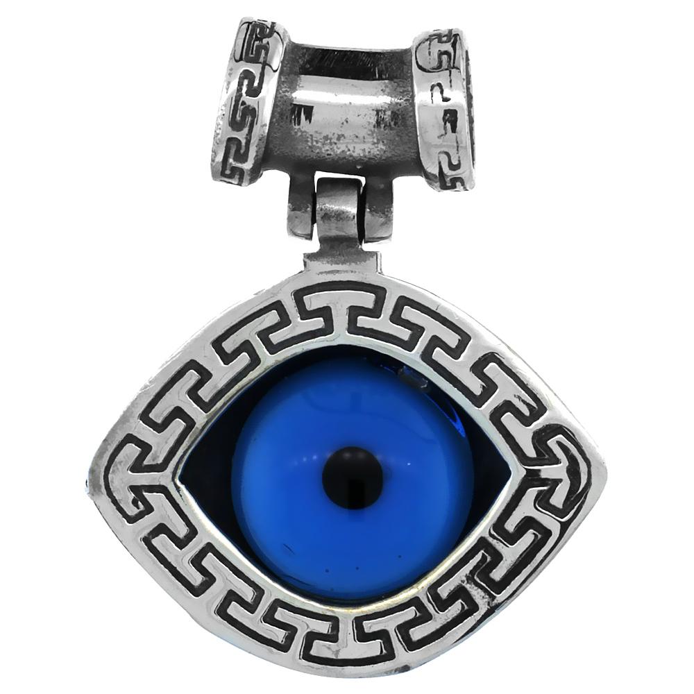 Sterling Silver Evil Eye Pendant Blue, 3/4 inch wide