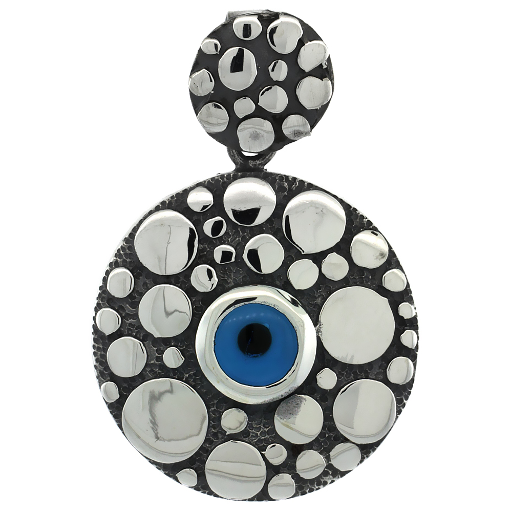 Sterling Silver Evil Eye Pendant Navy Blue Color Pebble Motif 1 inch