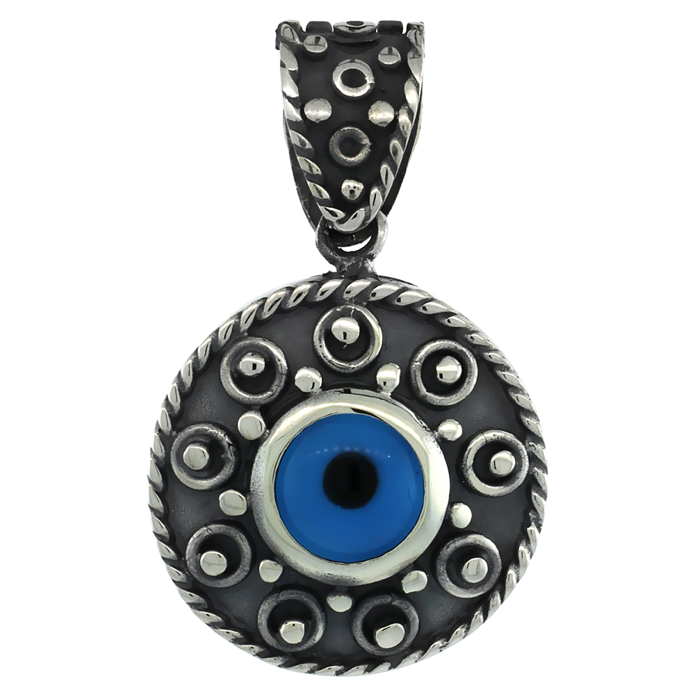 Sterling Silver Evil Eye Pendant Rope Edge Design Blue Color, 7/8 inch wide