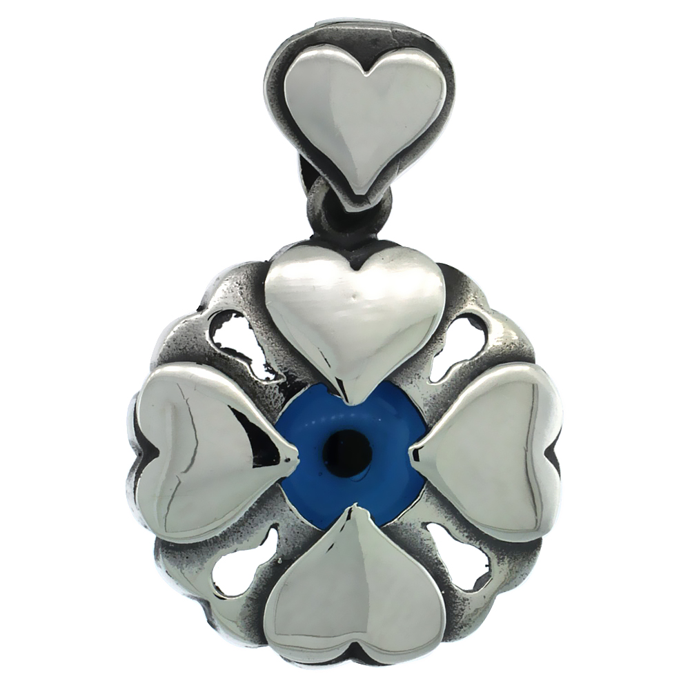 Sterling Silver Evil Eye Pendant Navy Blue Color Hearts Motif 3/4 inch