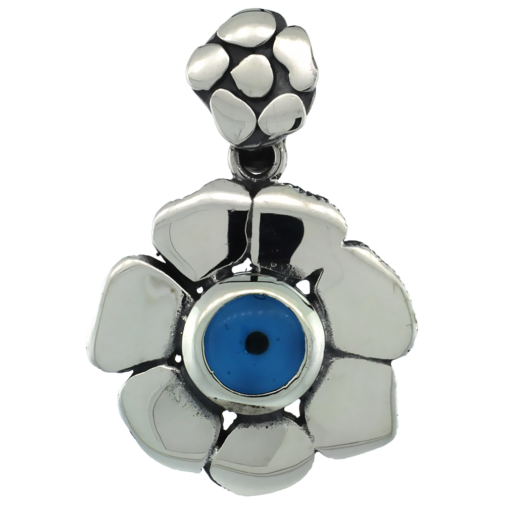 Sterling Silver Evil Eye Pendant Flower Shape Blue Color, 3/4 inch wide